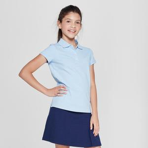 Custom High quality Girls' School Uniforms Short Sleeve Polo Shirt with dress