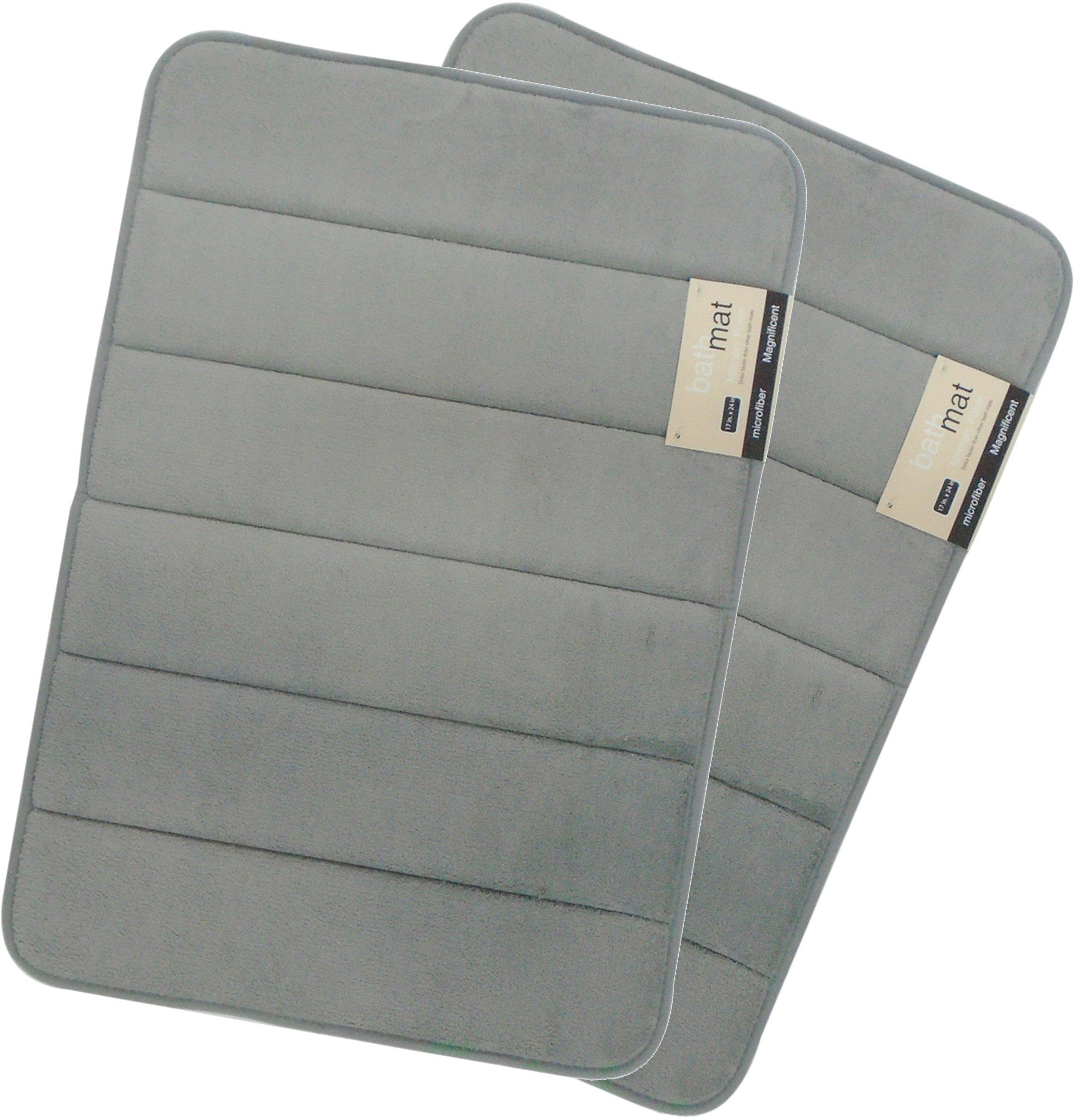 Magnificent 17 X 24 inch Memory Foam Bath Mat, Soft, Non-slip, High Absorbency - 2 Pack (Grey)