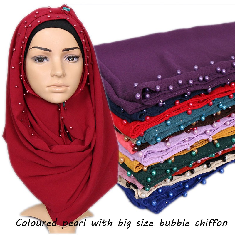 2018 Top Selling New Style 20 Colors In Stock Scarf Chiffon Pearls Hijab Muslim Women Shawls With Pearls