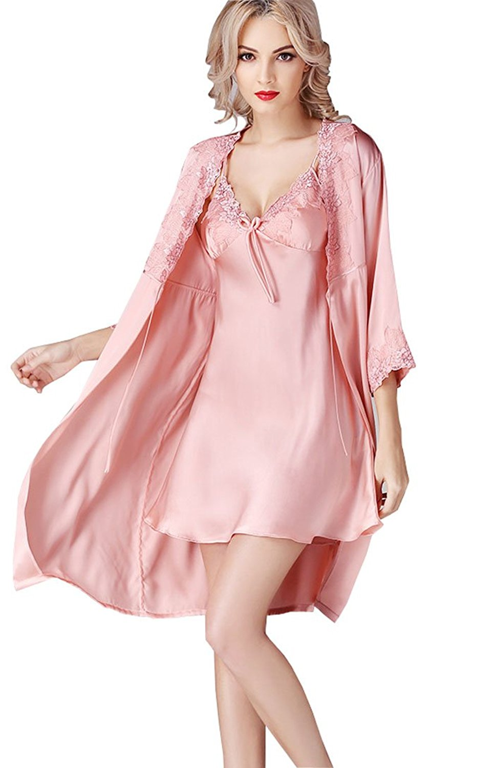 735ba1a194 METWAY Women s Pure Melberry Silk Pajamas 2 Piece Satin Silk Nightgown Silk  Rob Sets. 99.0. Chesslyre Women s Luxury Charmeuse Jacquard ...