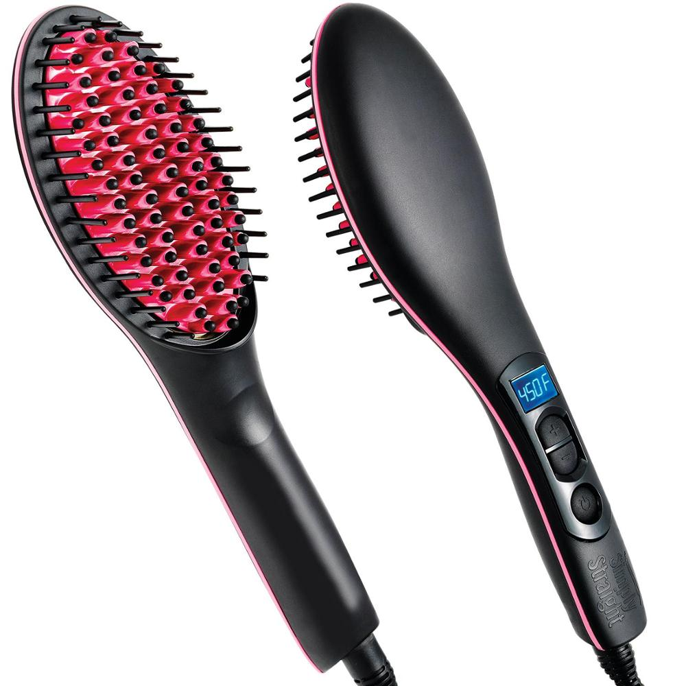 Professional Hot-906B Ceramic Fast Heat-up <strong>Hair</strong> <strong>Straightening</strong> Electric Comb Steam rolling <strong>Hair</strong> Straightener Brush