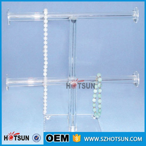 High quality acrylic bracelet watch display T bars stand holder 2 tiers jewelry display