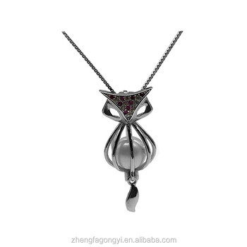 Valentine's day Wholesale 925 sterling silver fox pendant cage necklace with natural pearl
