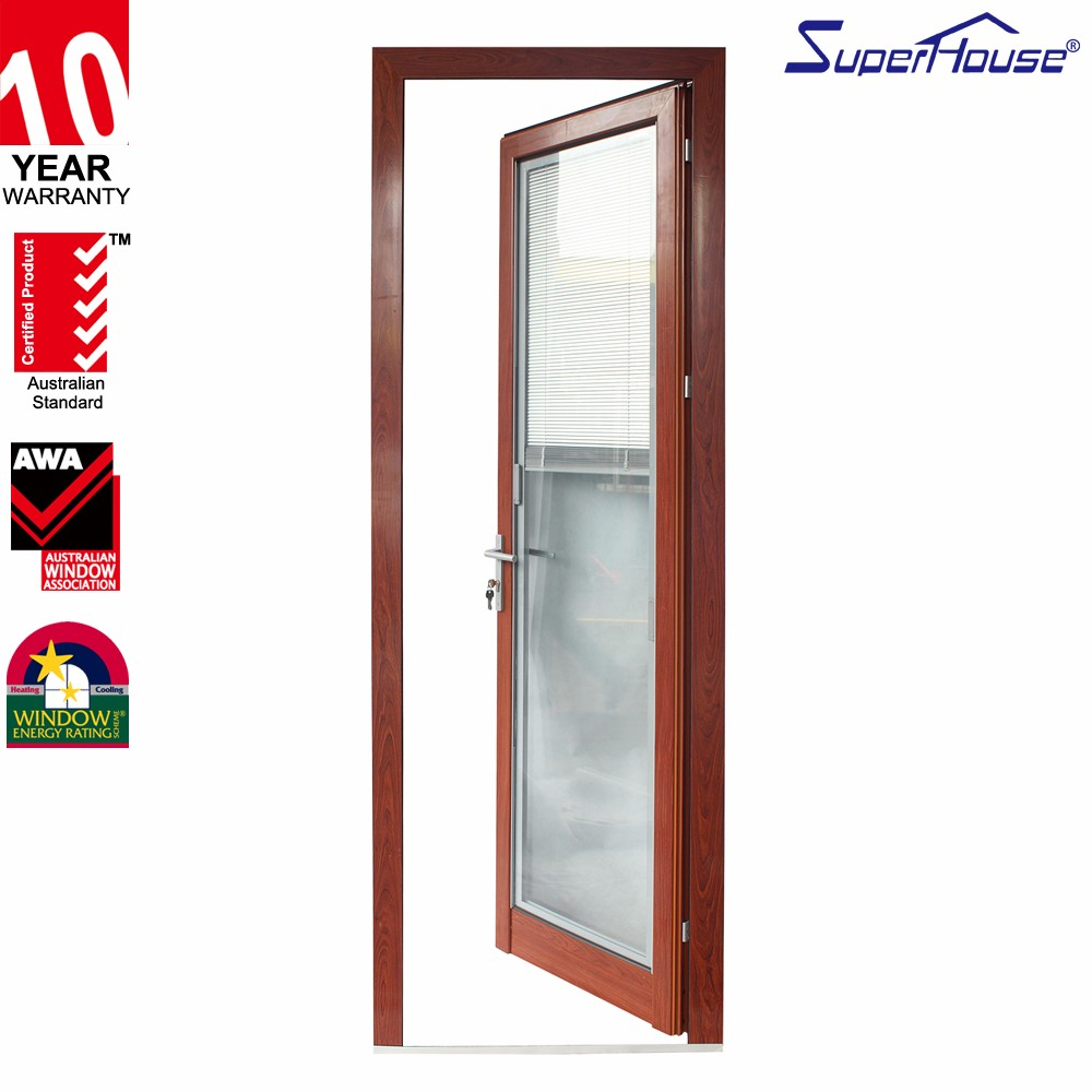 Commercial Kitchen Double Swing Glass Door Aluminum Frame Glass Swing Door With Frosted Glass