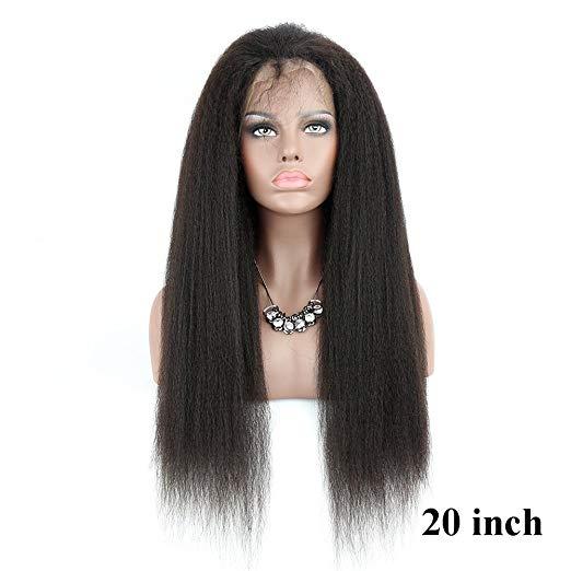 Alibaba.com / Kinky Straight 360 lace wig Glueless Virgin Brazilian Italian Yaki 150%density 360 Full Lace Wig For Black Women free ship