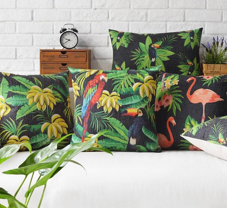 acheter taie d 39 oreiller housse de coussin tropical rain forest jungle perroquet. Black Bedroom Furniture Sets. Home Design Ideas