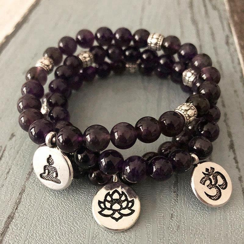 SN0825 8MM Amethyst Lotus Charm Bracelet Om Yoga Buddhist Amethyst MALA Bracelet Sets For Women, As picture