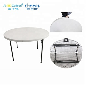 round 6 seater plastic folding table and chair portable folding table mesas redondas para fiestas