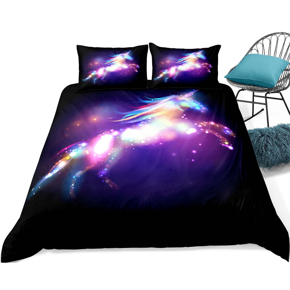 High Quality 3d Printing Unicorn Colorful Bed Sheets Duvet Cover
