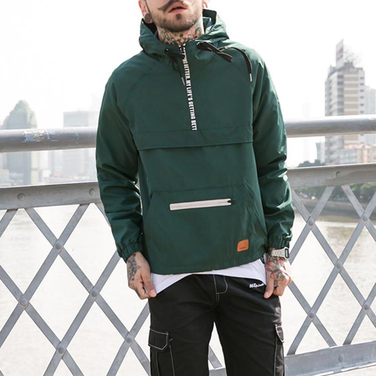 Mens jacket 2020 half zipper custom printed logo pullover 100% polyester windbreaker jacket stomach pocket
