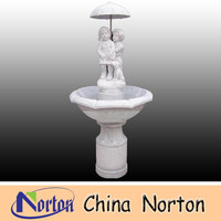 garden fountain white marble fountain with two kids under the umbrella NTMF-S257R