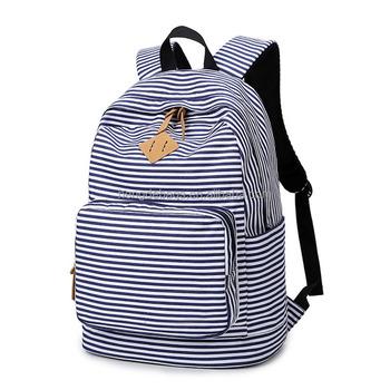 cdfcf1b11cc1 2018 Backpack Striped Print Women Canvas Backpack Teenage Backpacks for Teen  Girls Teenagers Bagpack