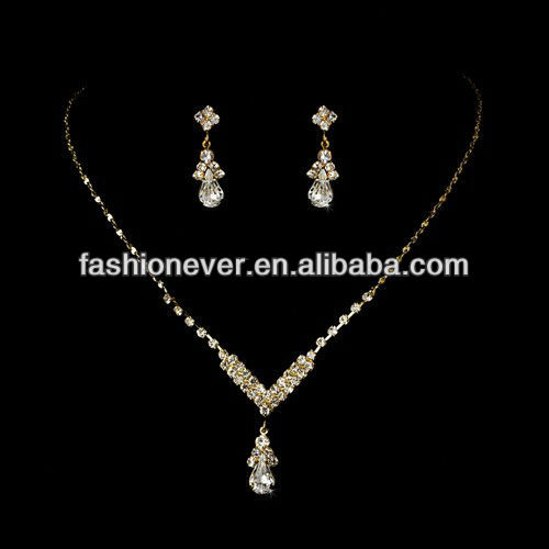Bridal Wedding Jewelry Set Crystal Rhinestone Necklace V Teardrop