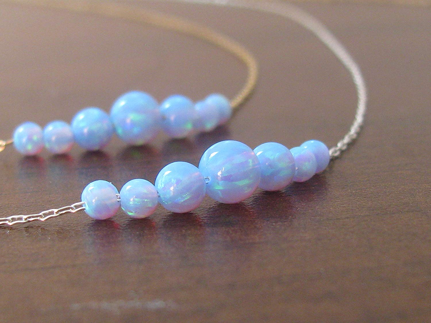 Opal silver necklace, opal ball necklace, delicate necklace, opal jewelry, tiny dot necklace, opal bead necklace, dot necklace, blue opal