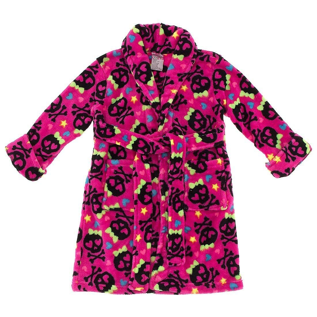 Sweet & Sassy Little Girls' Pink with Black Skulls Bathrobe