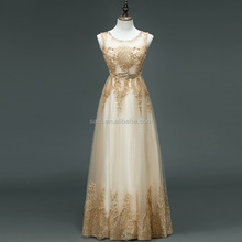 New Style Sleeveless Sexy Elegent Champaign Gold Party Chiffon Appliqued Maxi Dresses for Women Evening Long Dress