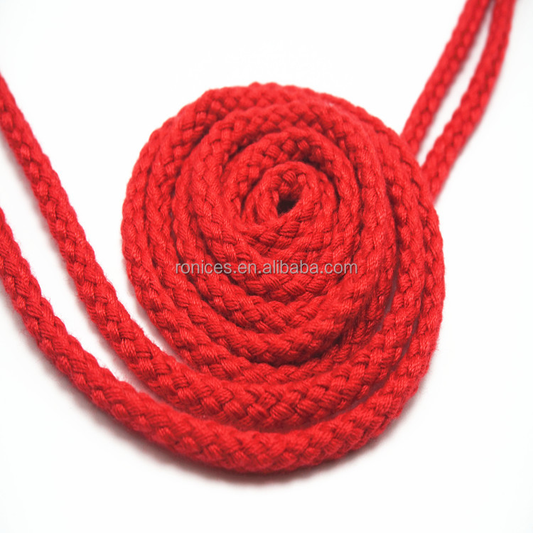 Hight quality cheap barided thick red round rope shoelace