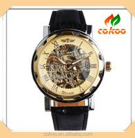 Aliexpress classic men business black leather strap winner luxury brand skeleton mechanical watch
