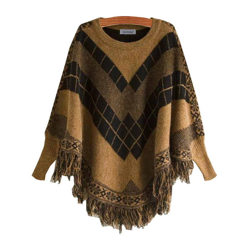 Poncho O-Neck Spell Color Jacquard Tassel Cloak Sweater Women Batwing Pullovers Spell Color Jacquard Fringed Knitwear