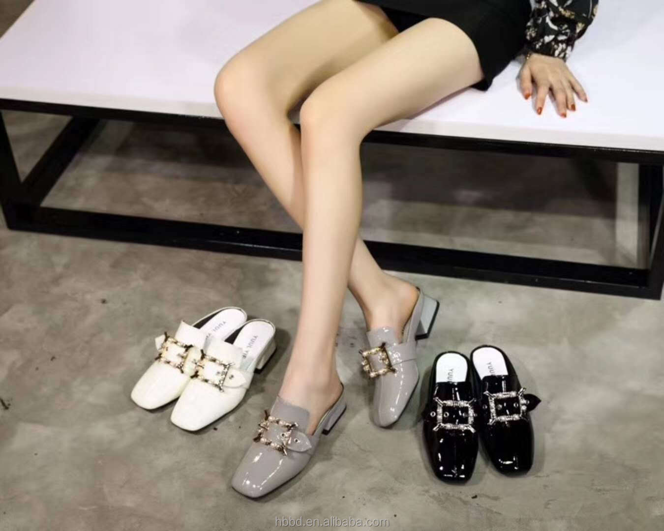 low with patent woman slingback slipper heel shoe wholesale chunky buckle nude rhinestone metal leather and IwRnIP