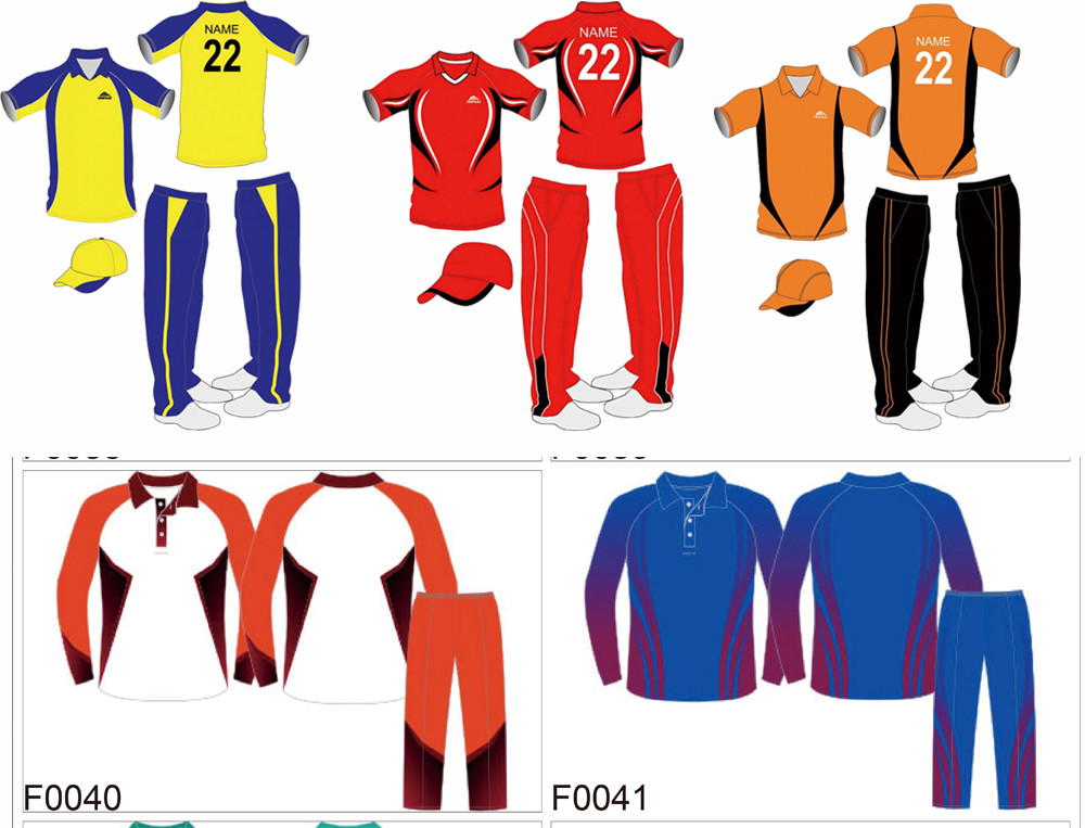 custom breathable dye sublimation printed white cricket shirts designs uniforms set