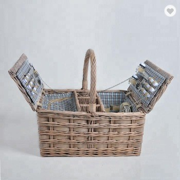 2 persons dim sum gift storage willow wicker picnic basket