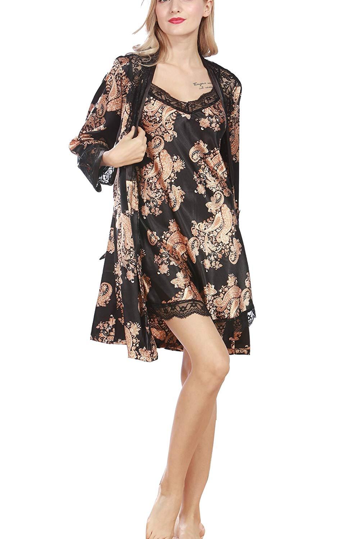 17dd133b72 Get Quotations · 4Ping Silk Pajamas Ladies Big Cashew Nuts Gowns Sexy  Pajamas