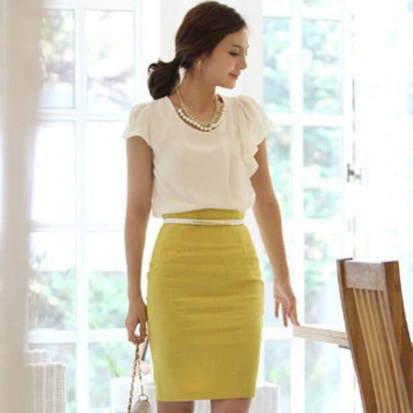 34baec725c1 Get Quotations · 2015 Korean Style Women Skirts Fashion Sexy Slim Skirts  Casual High Waist Length Office Lady Pencil