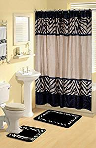 Get Quotations Modern Zebra Safari Animal Print 17 Pc Bath Rug Shower Curtains Hooks Towel Set