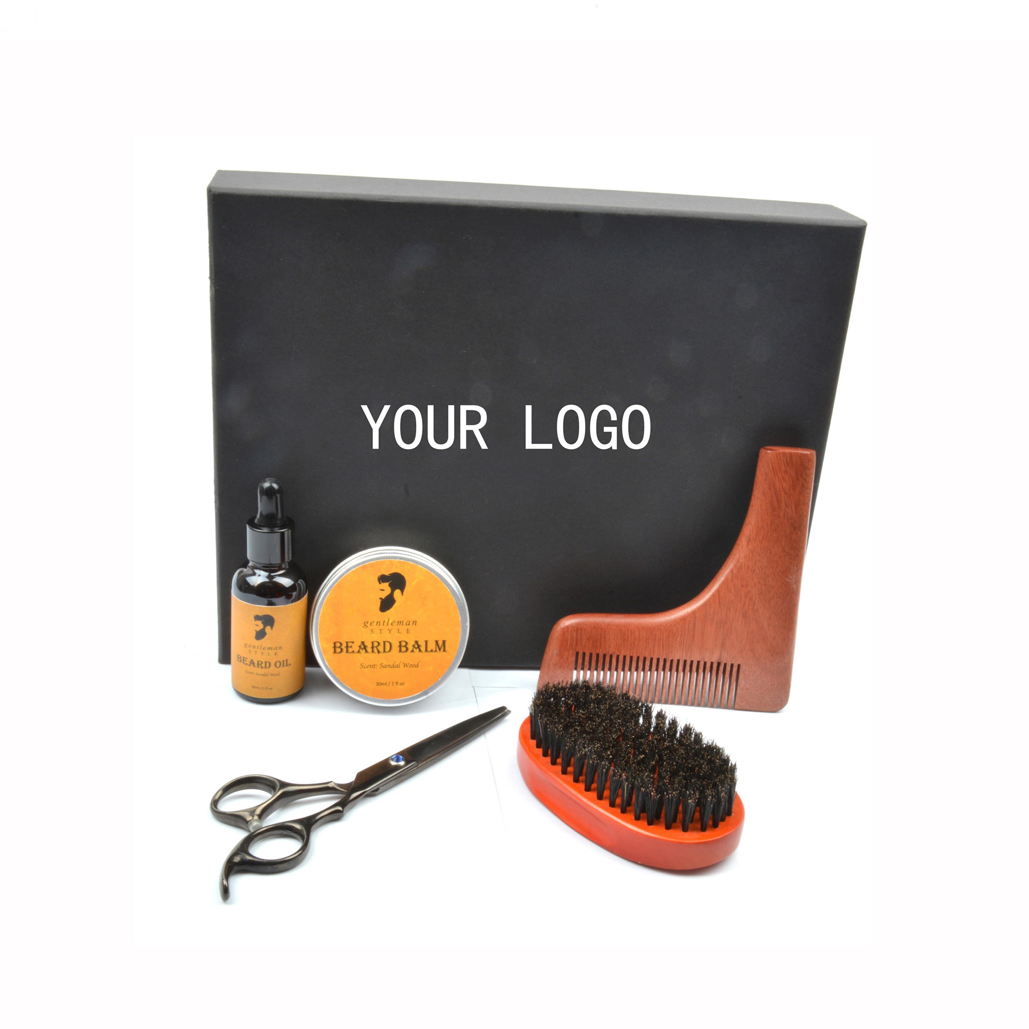 Private label Natural color Beard brush comb grooming kit