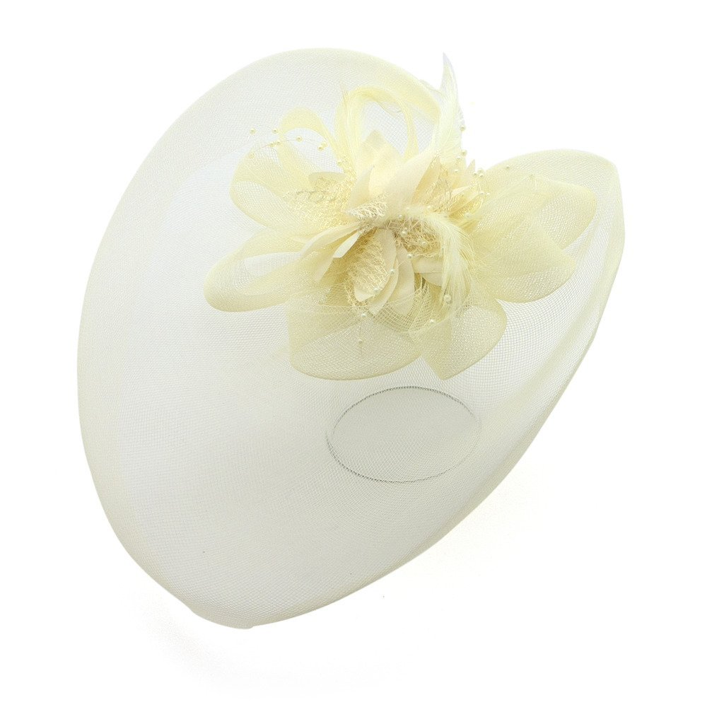 Ladies' Fashionable Feather Flower Bead Detailed and Mesh Ascot/Derby Day Fascinator Hat Headdress - Cream