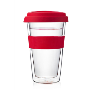 12oz Travel Stylish Office Use Double wall Glass Tumbler with Silicon Lid 350ml