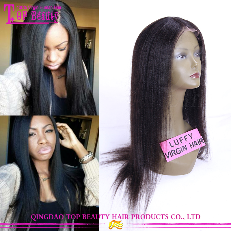 Top fashion hot sale yaki human hair wig brazilian human hair italian yaki wig