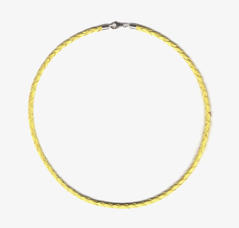"""Yellow Braided Leather Cord Necklace 3mm - Sterling Silver Clasp and Length Choice up to 30"""" (16"""") by Greek Crafts"""