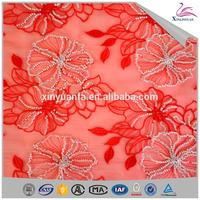 custom embroidery organza lace fabrics for curtain