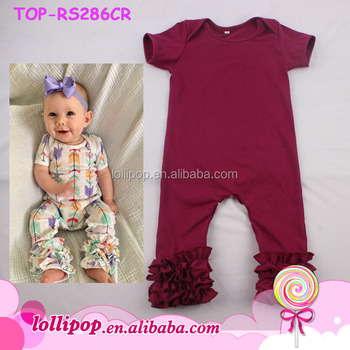 5e69970b7171 Triple Ruffle Icing Romper Girl Cotton Flutter Sleeve Baby Onesie ...