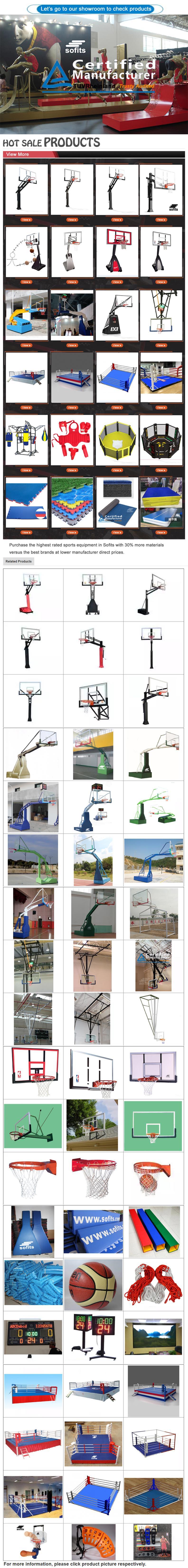 ห่วงบาสเก็ตบอลปรับความสูงได้ในที่ตั้งบาสเก็ตบอล / ระบบพร้อมพนักพิงแก้วทรงสูง