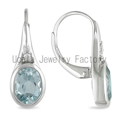 Sterling Silver Oval Blue Topaz Leverback Diamond Accents Earrings gold plated trendy children earrings