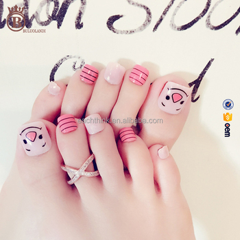 Cartoon Animal Full Cover Fake French Nail Art Toe Tips Buy Toe