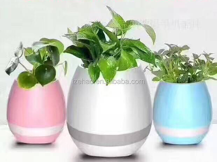 New Hot Smart Bluetooth Music Speaker Luminous Plant Vase Touch Sensing Flower Pot Unique Can Sing Songs Home Art Decor