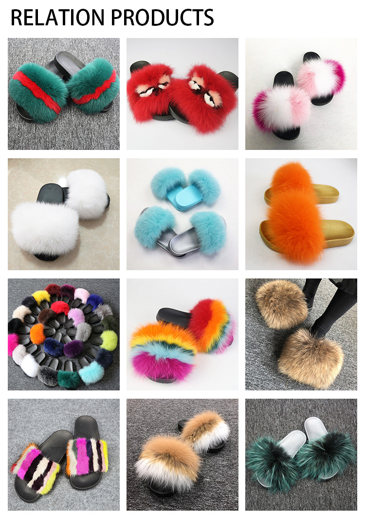 Factory wholesale raccoon fur PVC fur slippers fashion sandals fluffy women real fur slides
