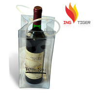 2016 Hot Sales For Promotion Imprint Customized Logo Hand Tote PVC Wine Glass Bag