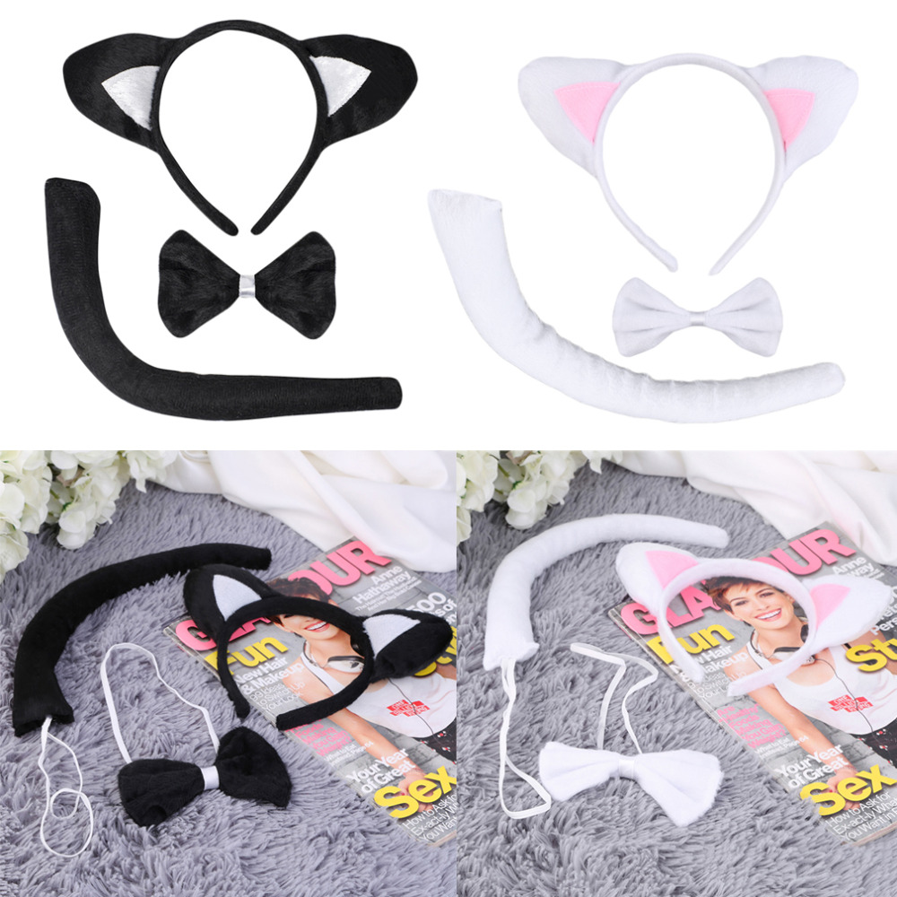 Brand New Cute Animal Tail Ear Headband Bow Tie 3Pc Tail Party Little Cat font b