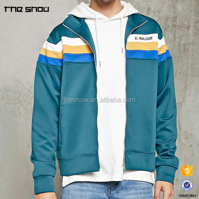 Mens long sleeves zippered front closure custom embroidered track jacket
