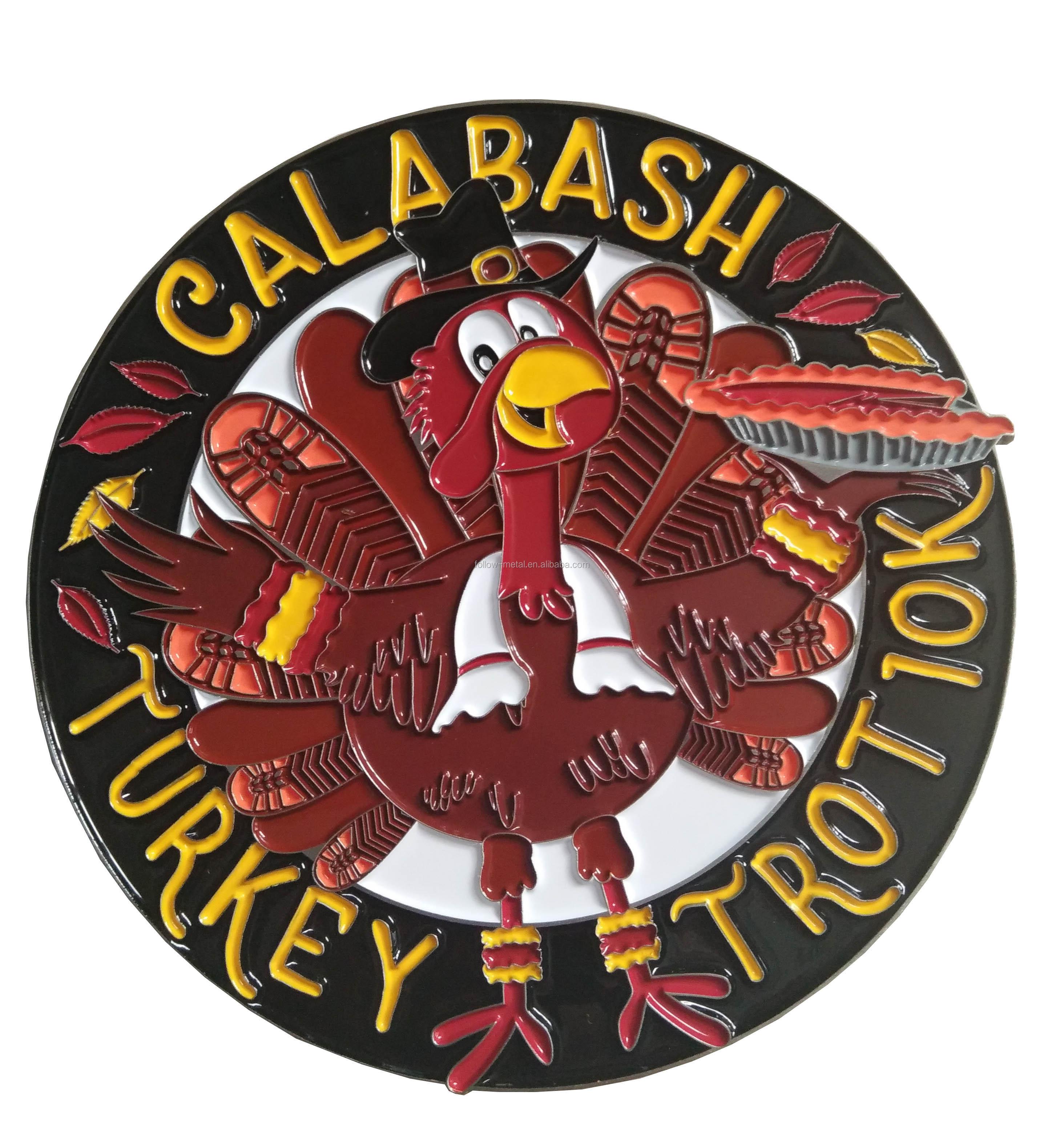 TURKEY TROT RUN ของที่ระลึกเหรียญนุ่มเคลือบ