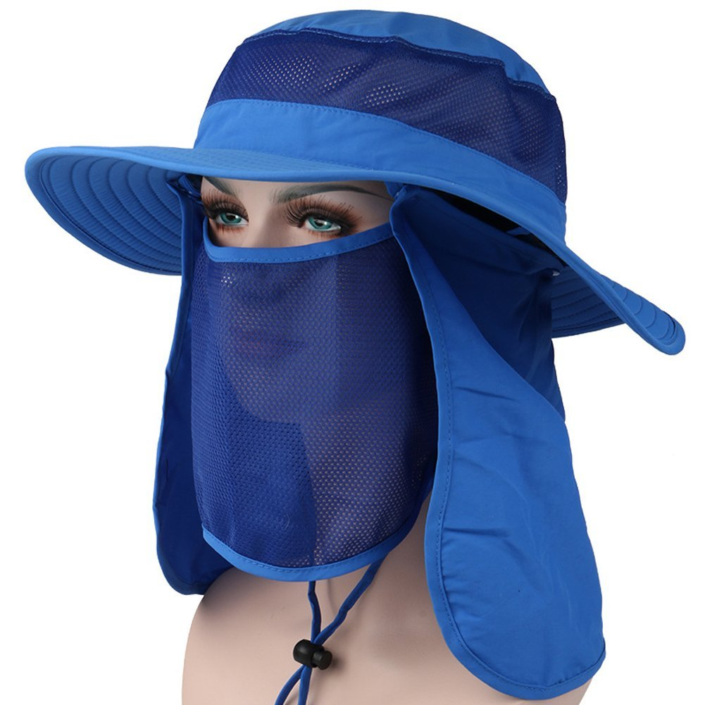 3c194e51cbfd8 HAPEE UPF 50+ Summer Outdoor Sun Protection Wide Brim Cap Removable Mesh  Neck Face Flap