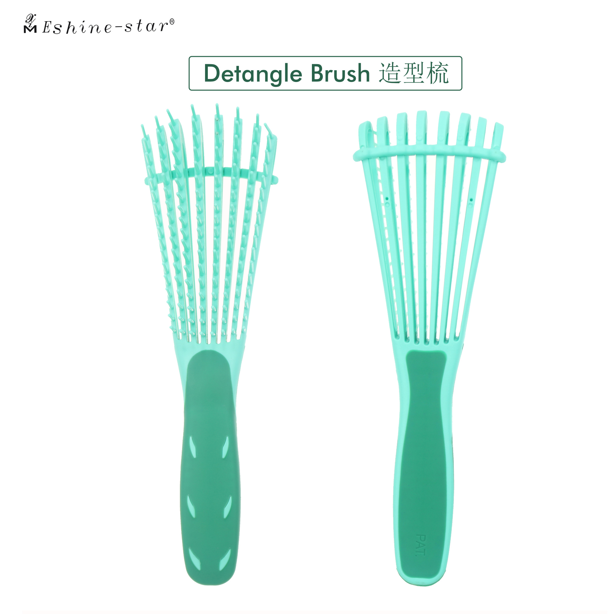 new Customized logo good quality rubber handle soft flexible teeth detangling hair brush vent hair brush manufacturer