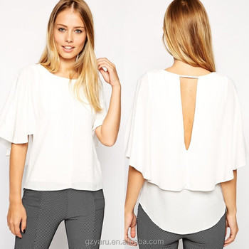 Ladies Elegant White Blouses Loose Design With Deep V Neck At