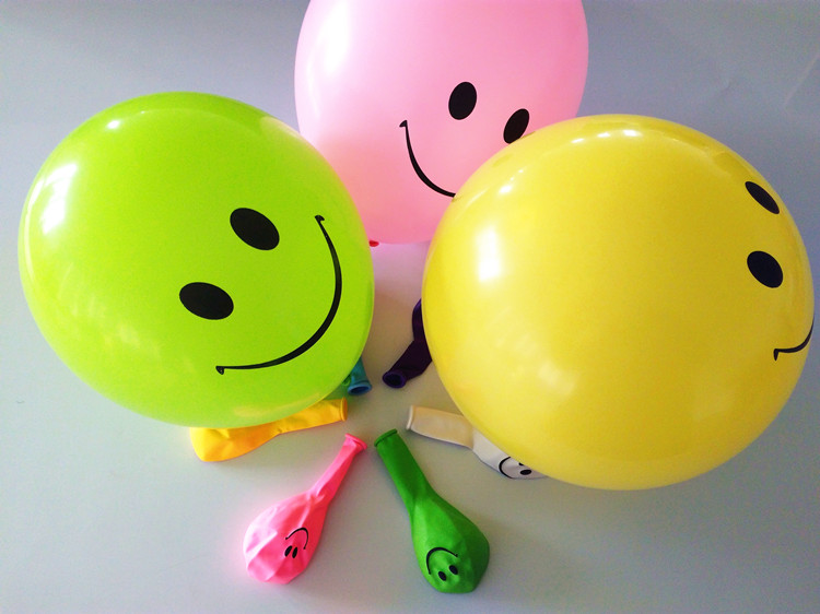 BSCI Made in China natural latex inflatable smiling face printed balloons