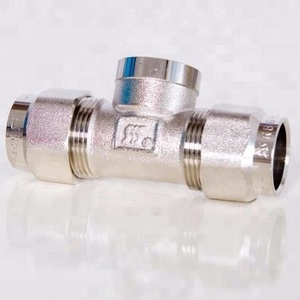 STAINLESS STEEL CORRUGATED PIPE FITTINGS TEE PIECE THREE WAY MALE FEMALE BRASS TEE AND ELBOW